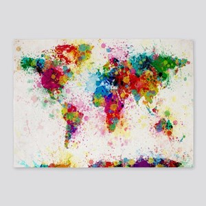 World Map Paint Splashes 5'x7'Area Rug