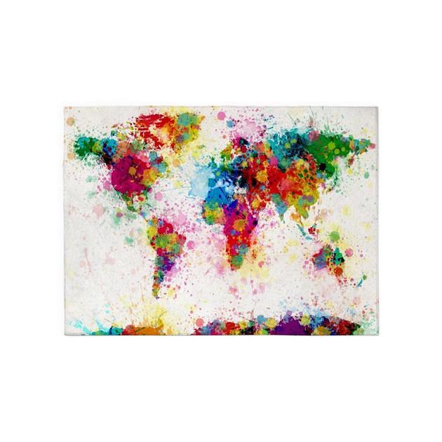 World Map Paint Splashes 5 X7 Area Rug