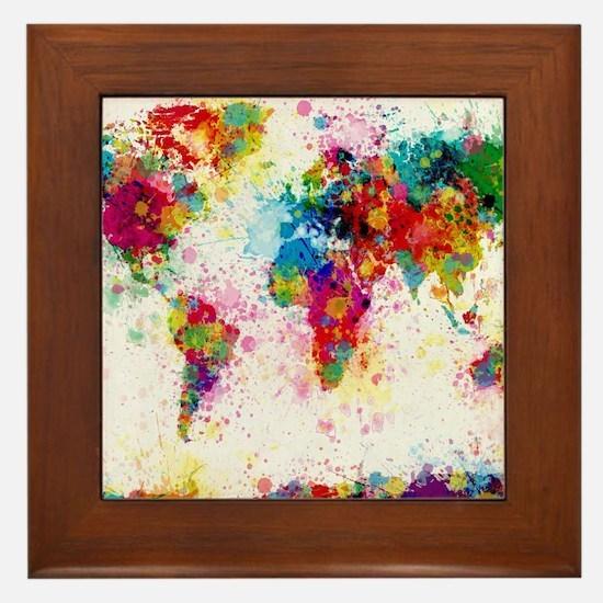 World Map Paint Splashes Framed Tile