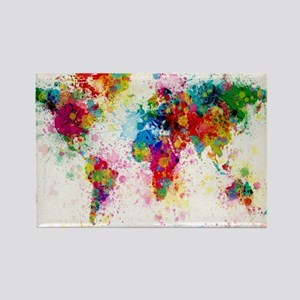 World Map Paint Splashes Rectangle Magnet