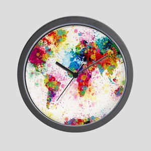 City map wall clocks cafepress world map paint splashes wall clock gumiabroncs Choice Image