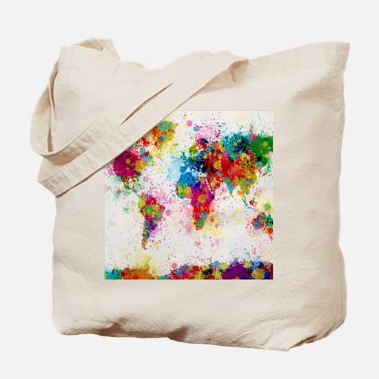 World Map Paint Splashes Tote Bag