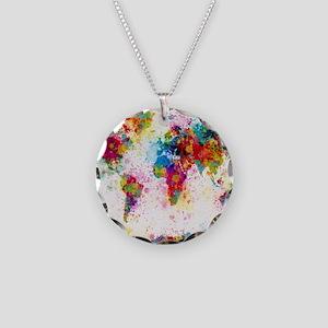 World Map Paint Splashes Necklace Circle Charm