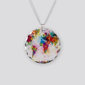 World globe necklaces cafepress world map paint splashes necklace circle charm gumiabroncs Image collections