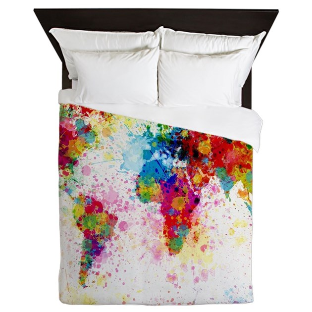 World map paint splashes queen duvet by listing store 21786311 gumiabroncs Gallery