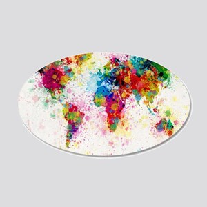 World Map Paint Splashes 20x12 Oval Wall Decal