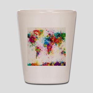 World Map Paint Splashes Shot Glass