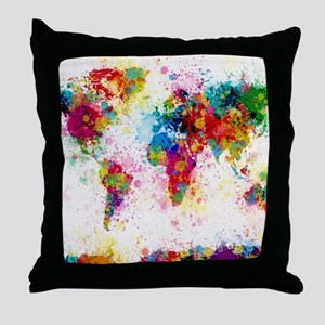 World Map Paint Splashes Throw Pillow
