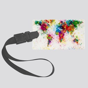 World Map Paint Splashes Large Luggage Tag