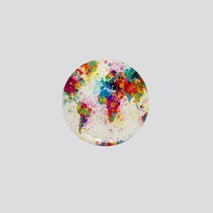 World Map Paint Splashes Mini Button