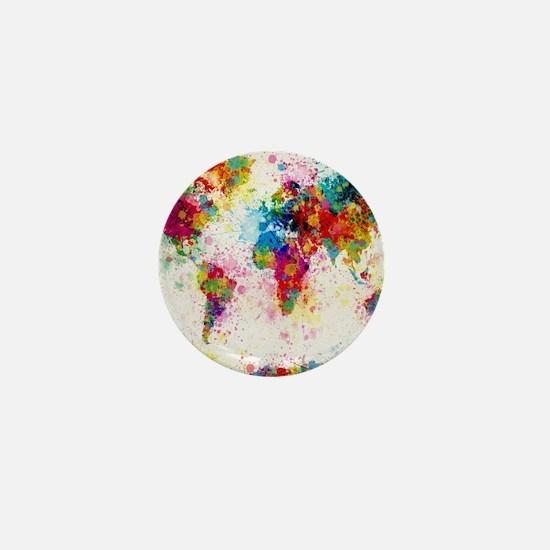 World Map Paint Splashes Mini Button