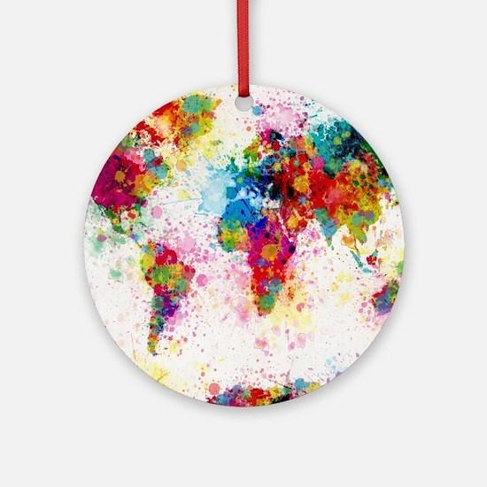 World Map Paint Splashes Round Ornament