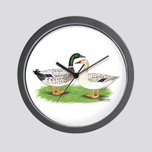 Snowy Mallard Ducks Wall Clock