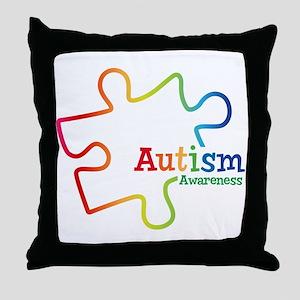 Rainbow Gradient Autism Throw Pillow