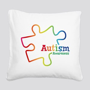 Rainbow Gradient Autism Square Canvas Pillow