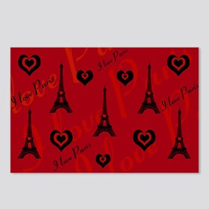Trendy Black and Red I LOVE PARIS Postcards (Packa