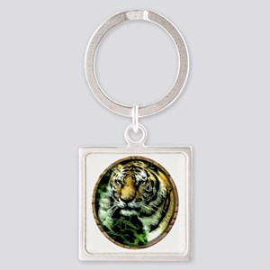 Jungle Tiger Square Keychain