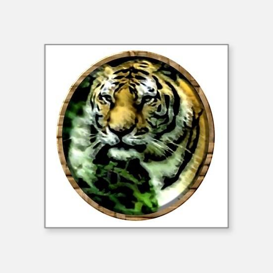 """Jungle Tiger Square Sticker 3"""" x 3"""""""