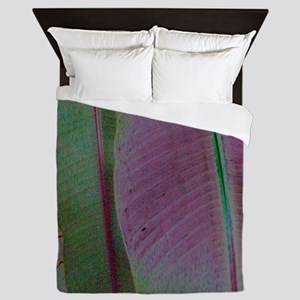 Purple and Green Leaves Queen Duvet