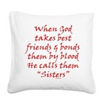 God Made Sisters Square Canvas Pillow