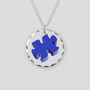 Puzzle Piece 2.1 Blue Necklace Circle Charm