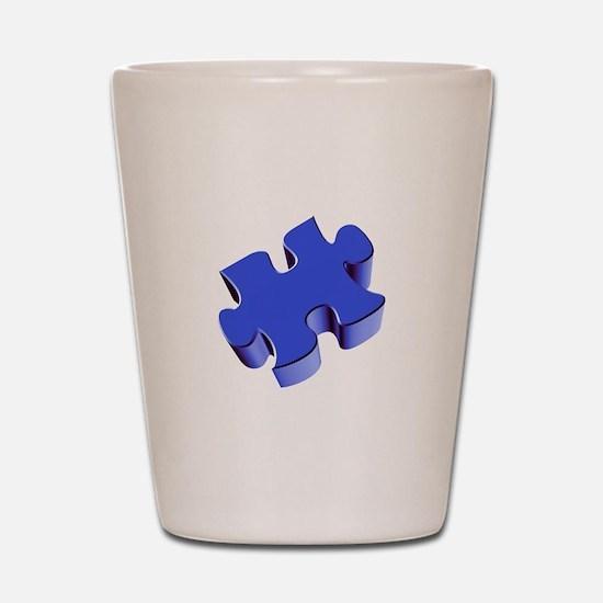 Puzzle Piece 2.1 Blue Shot Glass