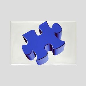 Puzzle Piece 2.1 Blue Rectangle Magnet