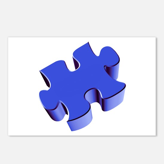 Puzzle Piece 2.1 Blue Postcards (Package of 8)