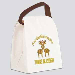 Twin Giraffes Canvas Lunch Bag
