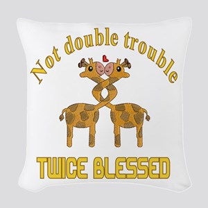 Twin Giraffes Woven Throw Pillow
