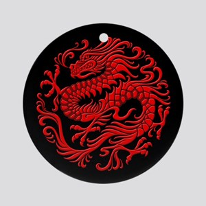 Traditional Red and Black Chinese Dragon Circle Or