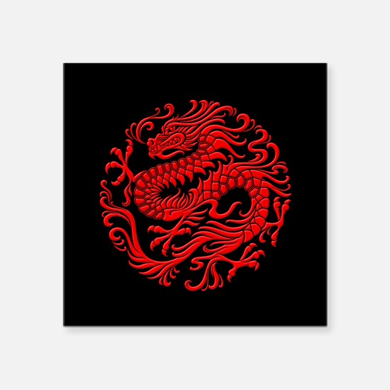 Traditional Red and Black Chinese Dragon Circle St