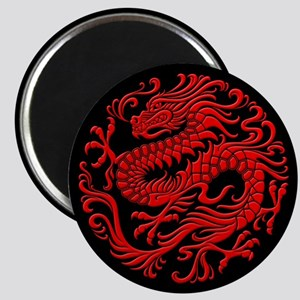 Traditional Red and Black Chinese Dragon Circle Ma