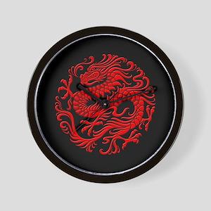 Traditional Red and Black Chinese Dragon Circle Wa