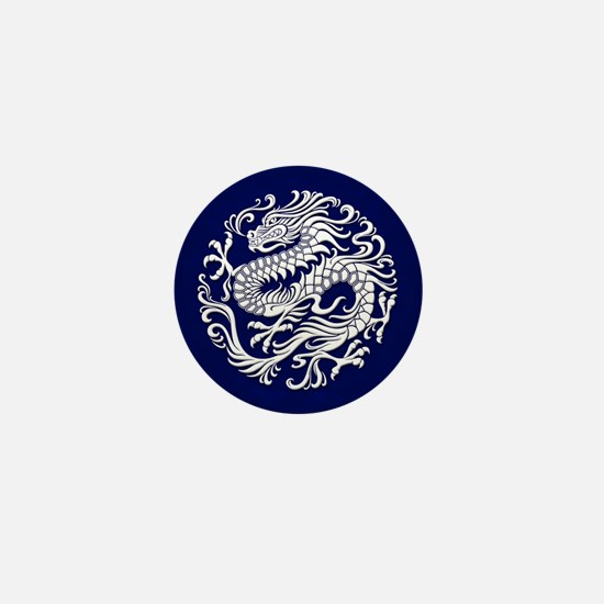 Traditional White and Blue Chinese Dragon Circle M