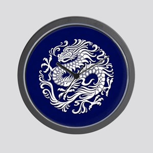 Traditional White and Blue Chinese Dragon Circle W