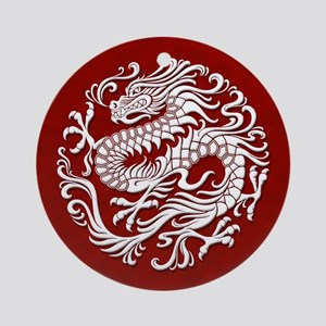 Traditional White and Red Chinese Dragon Circle Or