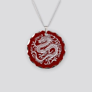 Traditional White and Red Chinese Dragon Circle Ne