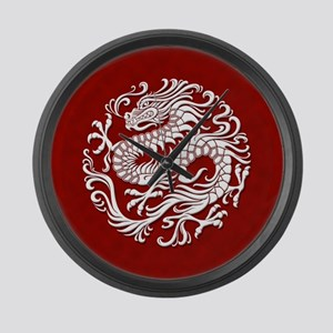 Traditional White and Red Chinese Dragon Circle La