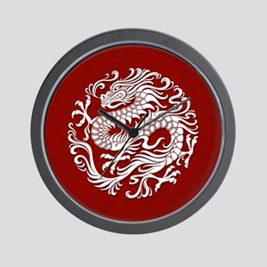 Traditional White and Red Chinese Dragon Circle Wa