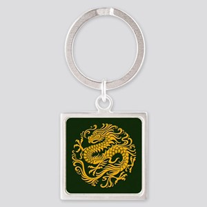 Traditional Golden Green Chinese Dragon Circle Key