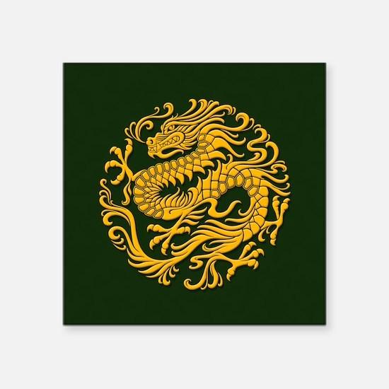 Traditional Golden Green Chinese Dragon Circle Sti