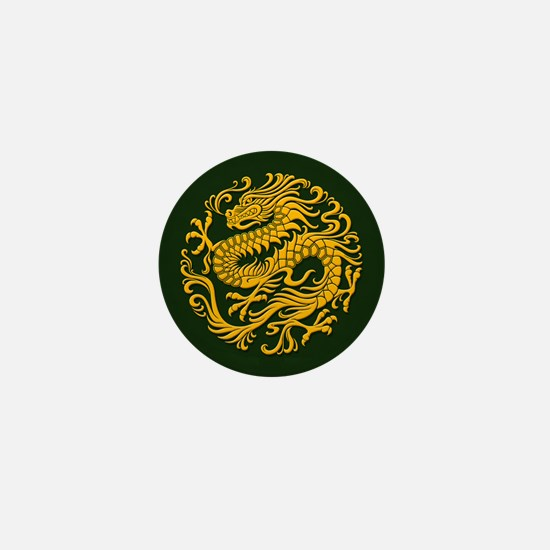 Traditional Golden Green Chinese Dragon Circle Min