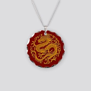 Traditional Golden Red Chinese Dragon Circle Neckl
