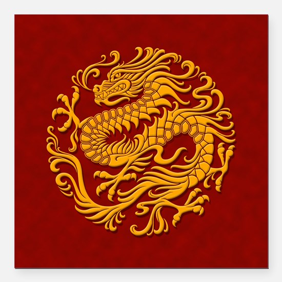 Traditional Golden Red Chinese Dragon Circle Squar