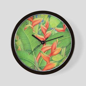 Hawaiian Heliconia Wall Clock