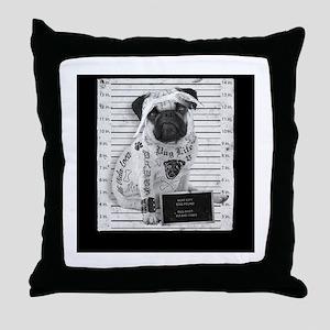 """Pug Life Mug Shot """"All Eyez On Me"""" Throw Pillow"""