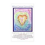 Rainbow Heart Cancer Sticker (Rectangle)