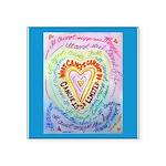 Rainbow Heart Cancer Square Sticker 3