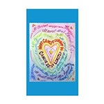 Rainbow Heart Cancer Sticker (Rectangle 10 pk)